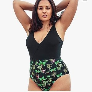CUPSHE Plus Palm Tree One Piece Swimsuit NWT
